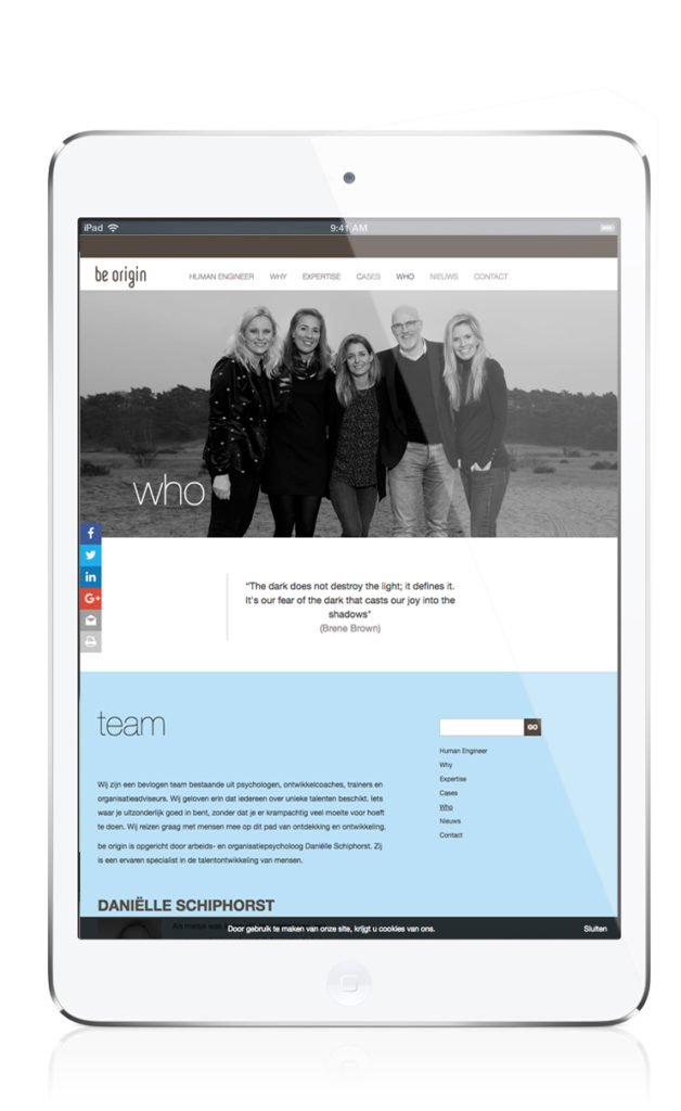 Be Origin responsive design